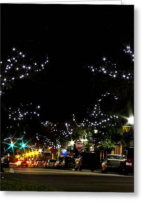 Old Main Street In December Greeting Card by Nicholas Evans