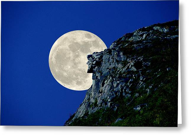 Old Man Meets The Man In The Moon Greeting Card by Larry Landolfi