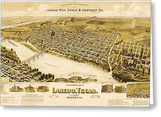 Old Map Laredo Texas Greeting Card by Pg Reproductions