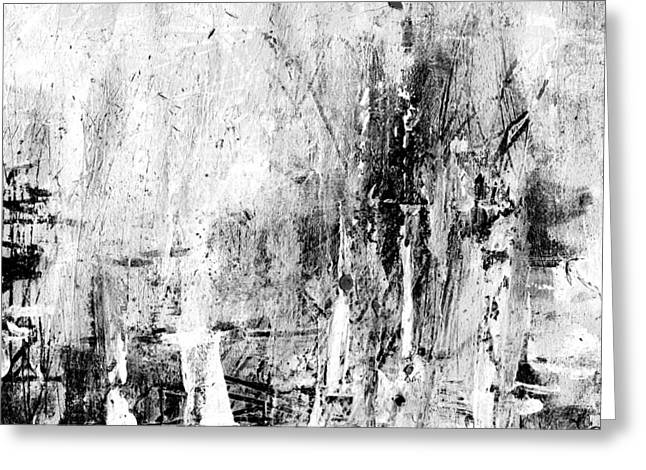 Old Memories -black And White Abstract Art By Laura Gomez -square Size Greeting Card by Laura  Gomez