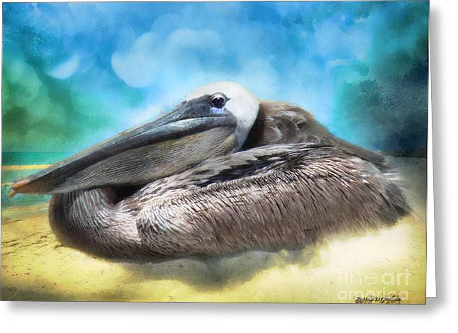 Greeting Card featuring the digital art Old Mr. Pelican by Rhonda Strickland