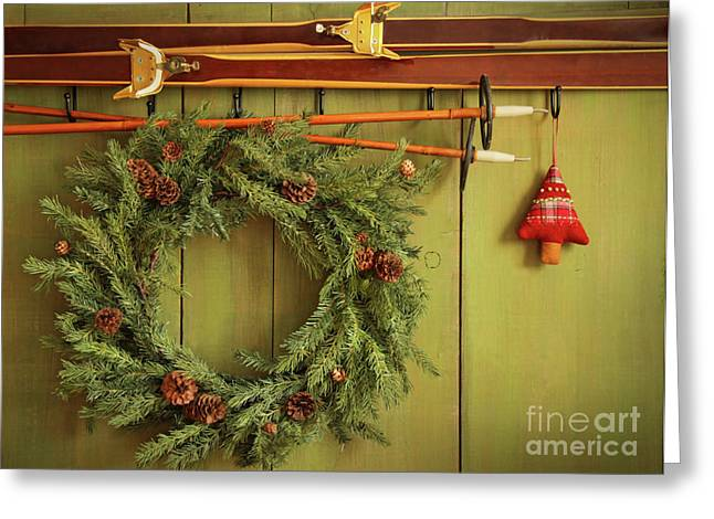 Old Pair Of Skis Hanging With Wreath  Greeting Card by Sandra Cunningham