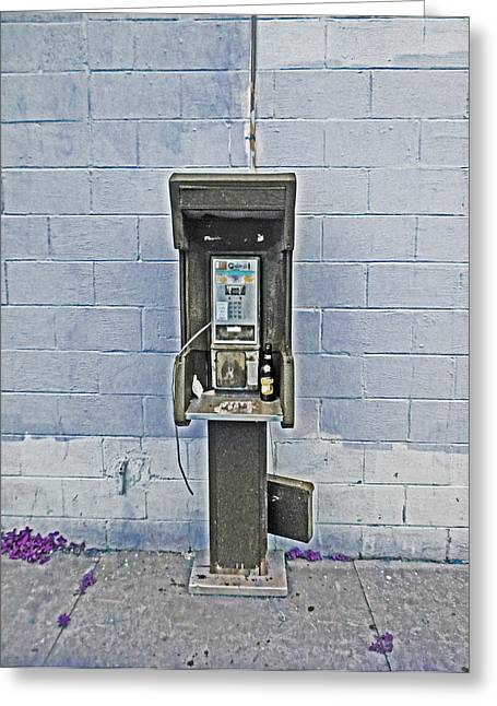 Old Pay Phone In New Orleans Greeting Card