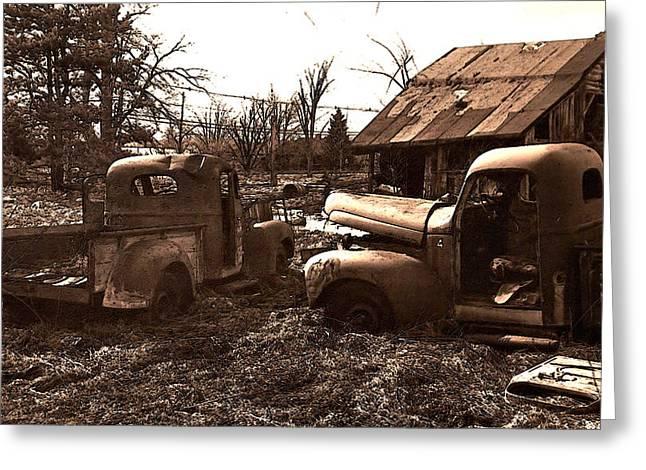 'old Pickup Trucks' Greeting Card by Michael Lang