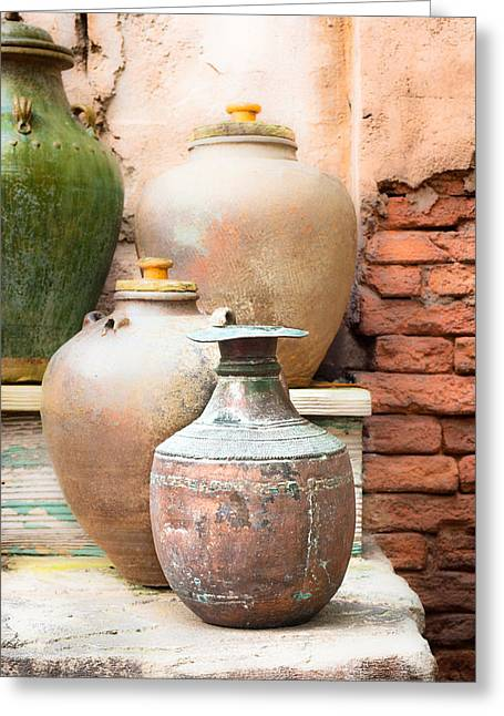 Old Pots Greeting Card by Tom Gowanlock