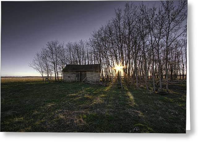 Old Prairie Homestead At Sunset Greeting Card by Dan Jurak