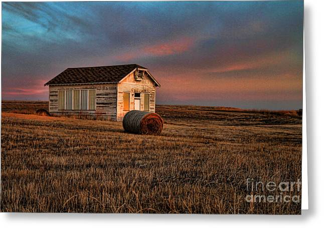 Old Prairie School At Sunrise Greeting Card by Edward R Wisell