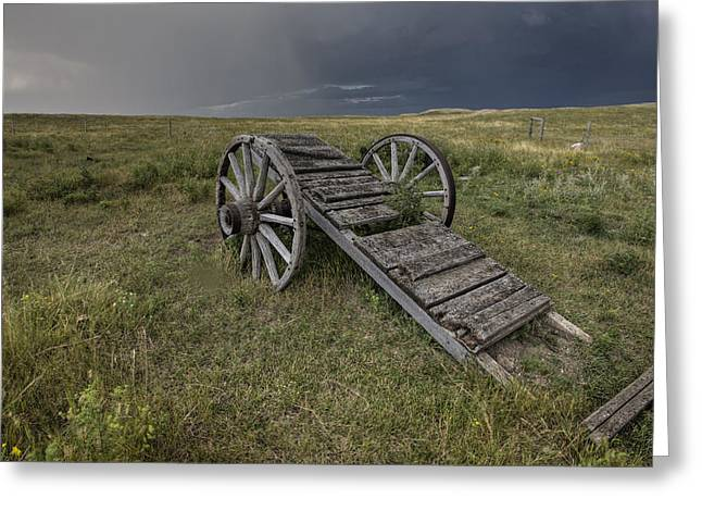 Old Prairie Wheel Cart Saskatchewan Greeting Card