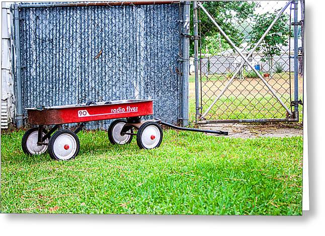 Greeting Card featuring the photograph Old Radio Flyer Wagon by Ester  Rogers