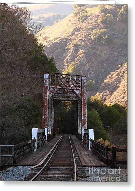 Old Railroad Bridge At Near Historic Niles District In California . 7d10745 Greeting Card by Wingsdomain Art and Photography
