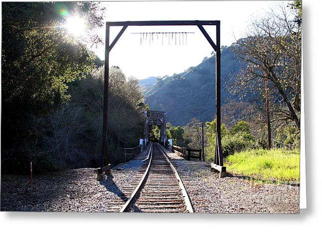 Old Railroad Bridge At Near Historic Niles District In California . 7d12747 Greeting Card by Wingsdomain Art and Photography