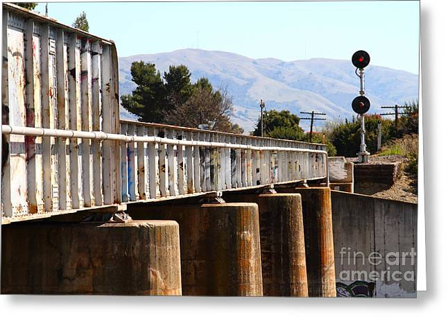 Old Railroad Bridge In Fremont California Near Historic Niles District In California . 7d12669 Greeting Card by Wingsdomain Art and Photography