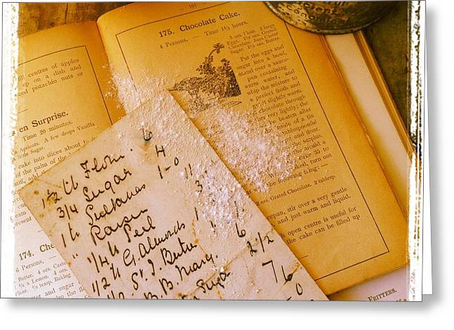 Old Recipes Greeting Card by Ruby Hummersmith