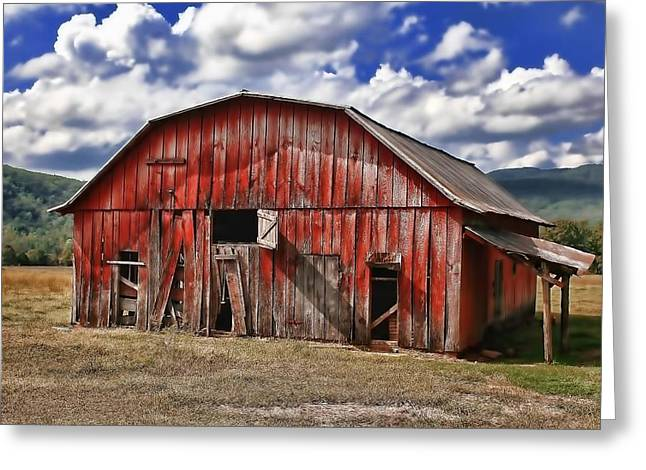 Greeting Card featuring the photograph Old Red Barn by Renee Hardison