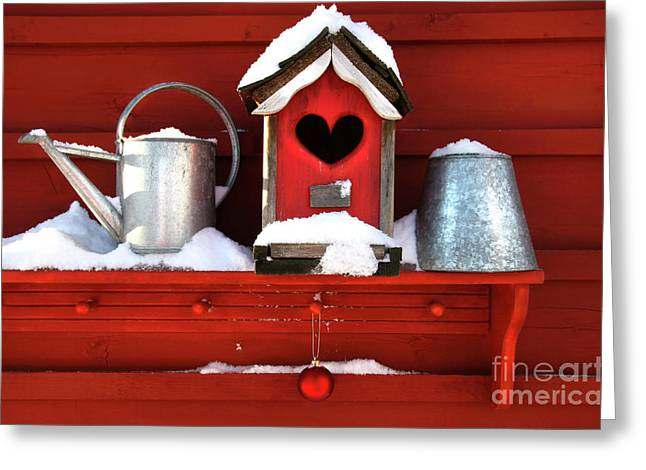 Old Red Birdhouse Greeting Card by Sandra Cunningham