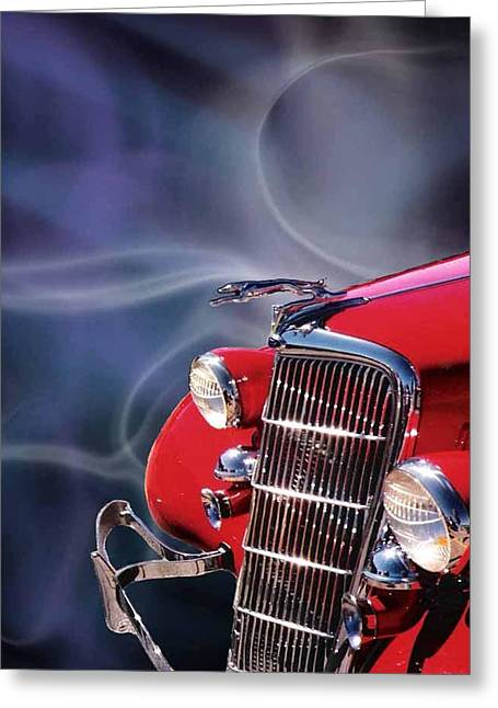 Old Red Hotrod Greeting Card by Diana Shively