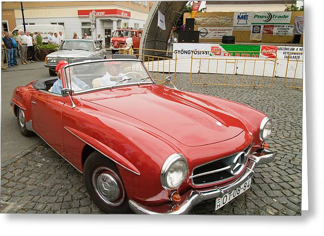 Old Red Mercedes-benz Greeting Card by Odon Czintos