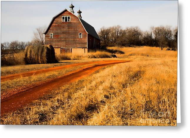 Old Red Road And Barn Greeting Card