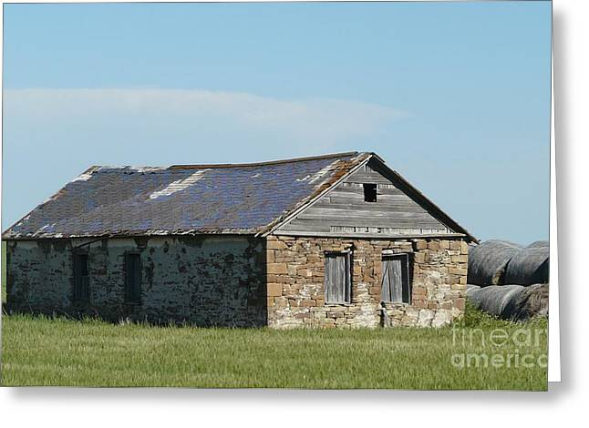 old rock house in ND. Greeting Card by Bobbylee Farrier