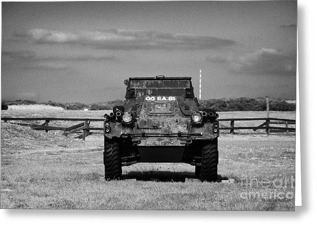 old rusting british army ferret armoured scout car Scotland uk united kingdom Greeting Card