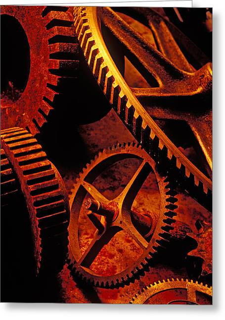 Old Rusty Gears Greeting Card by Garry Gay
