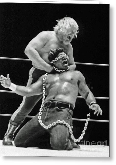 Old School Wrestling Chain Match Between Moondog Mayne And Don Muraco Greeting Card