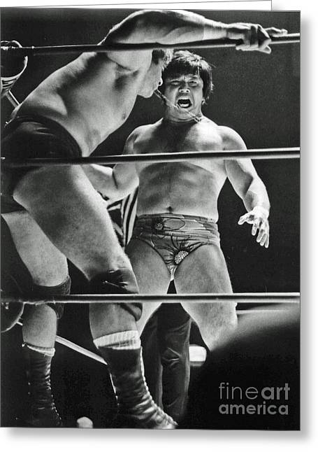 Greeting Card featuring the photograph Old School Wrestling Karate Chop On Don Muraco By Dean Ho by Jim Fitzpatrick