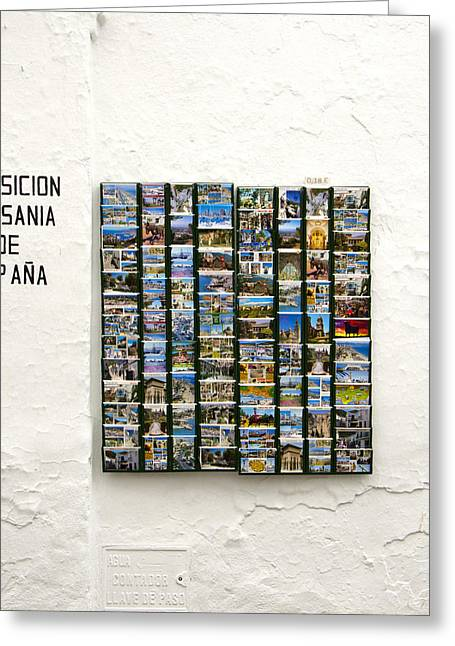 Old Spanish Postcards In Spanish Village Greeting Card by Perry Van Munster