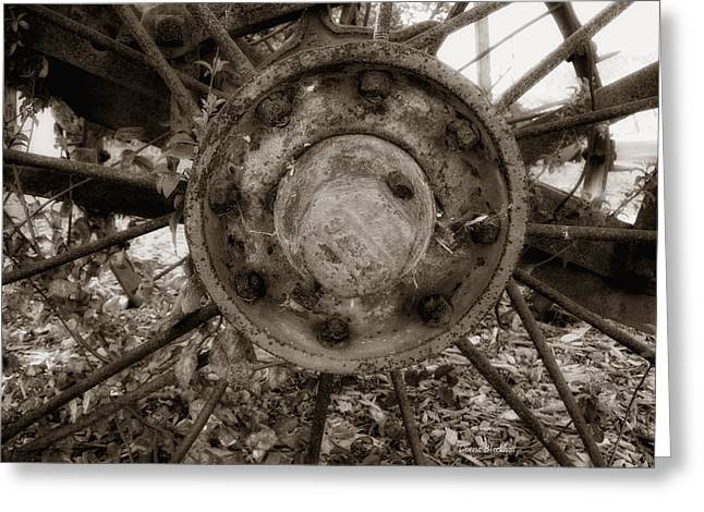 Old Spokes Home Greeting Card by Donna Blackhall