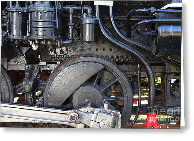 Old Steam Locomotive Engine 1258 . Wheels . 7d13001 Greeting Card