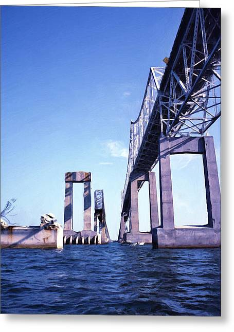 Old Sunshine Skyway Bridge Greeting Card by Richard Rizzo