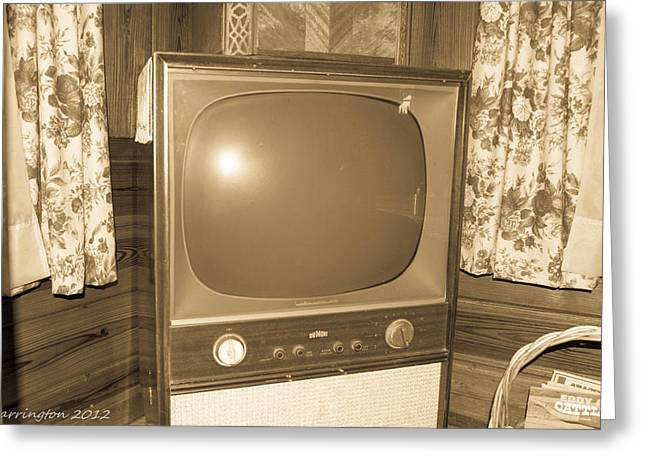 Old Television Greeting Card by Shannon Harrington