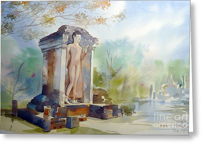Greeting Card featuring the painting Old Temple Of Thailand by Chonkhet Phanwichien