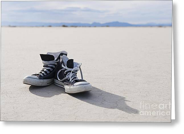 Old Tennis Shoes On Strip Of Grass Greeting Card by Thom Gourley/Flatbread Images, LLC