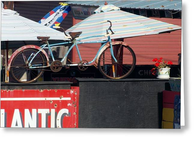 Old Time Double  Bicycle Greeting Card by Angelika MacDonald