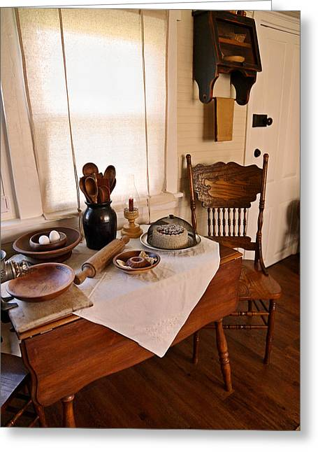 Old Time Kitchen Table Greeting Card by Carmen Del Valle