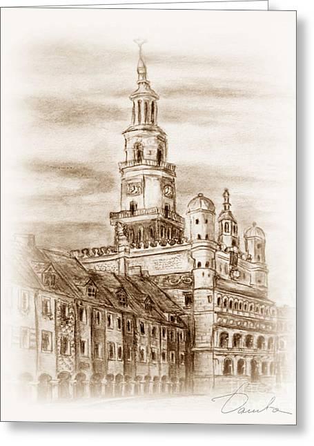 old town Poznan Greeting Card by Danuta Bennett