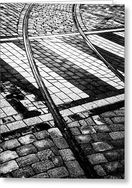 Old Tracks Made New Greeting Card by Hakon Soreide
