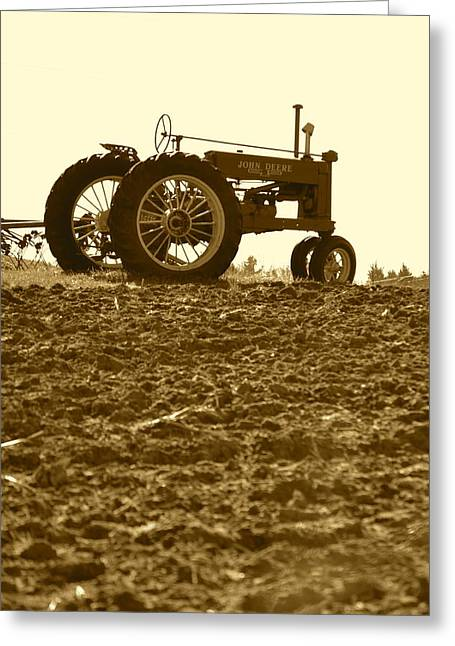 Old Tractor I In Sepia Greeting Card