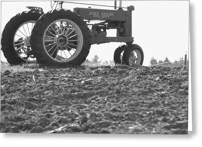 Old Tractor II In Black-and-white Greeting Card