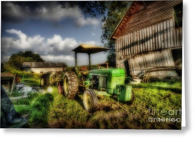 Old Tractor In Field By Barn Greeting Card by Dan Friend