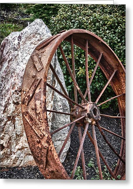 Old Tractor Wheel Greeting Card