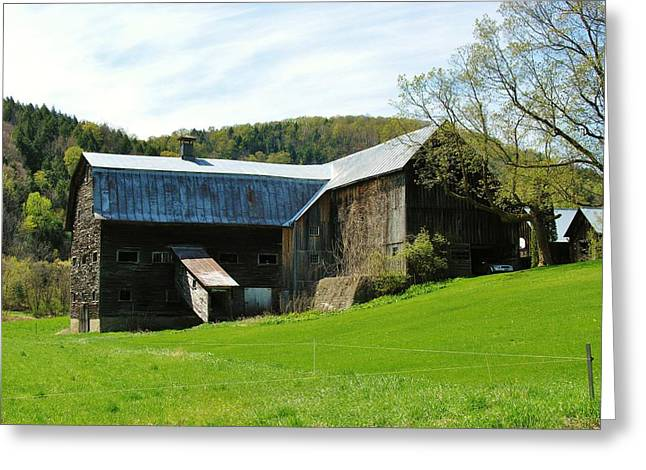 Greeting Card featuring the photograph Old Vermont Barn by Sherman Perry