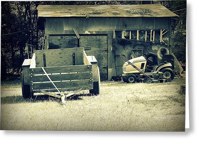 Greeting Card featuring the photograph Old Wagon And Old Shed by Ester  Rogers