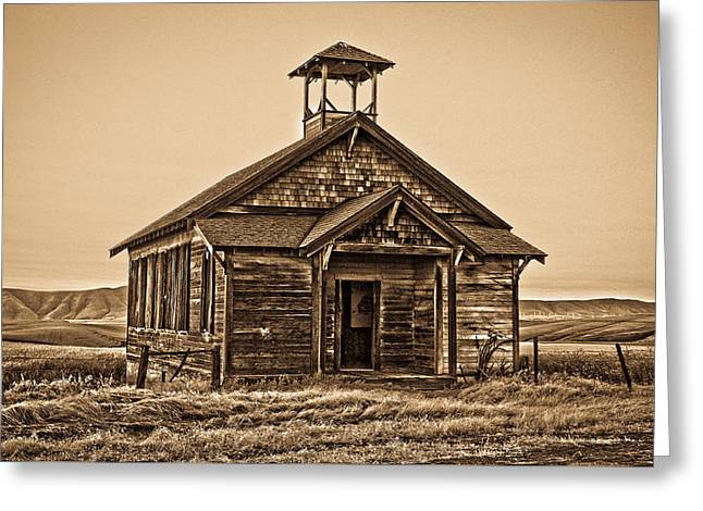 Old West School House Greeting Card by Steve McKinzie