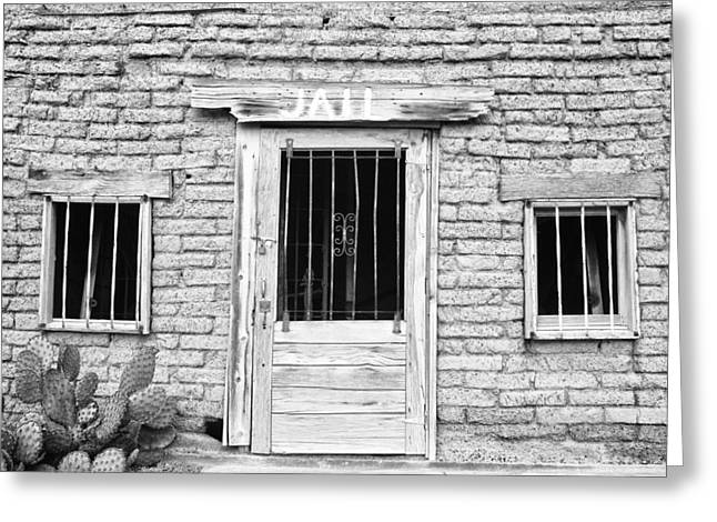 Old Western Jailhouse In Black And White Greeting Card