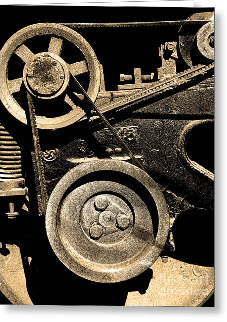 Old Western Pacific Caboose Train Wheel . 7d10626 . Sepia Greeting Card by Wingsdomain Art and Photography