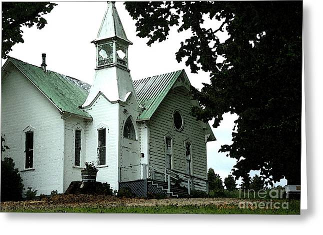 Greeting Card featuring the digital art Old White Church Of Yamhill County by Glenna McRae