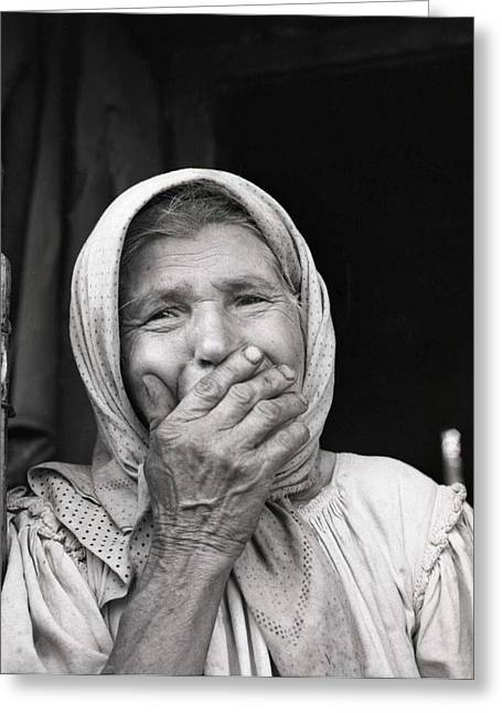 Old Woman From Maramures Romania Greeting Card by Emanuel Tanjala