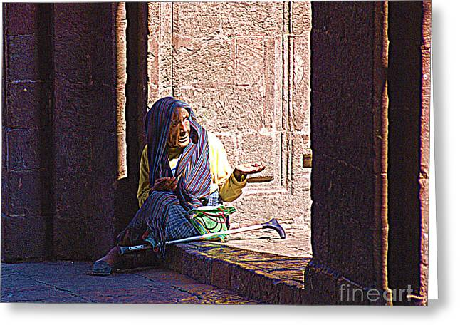 Greeting Card featuring the digital art Old Woman In Centro by John  Kolenberg